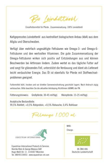 Bio-Leindotteröl für Pferde