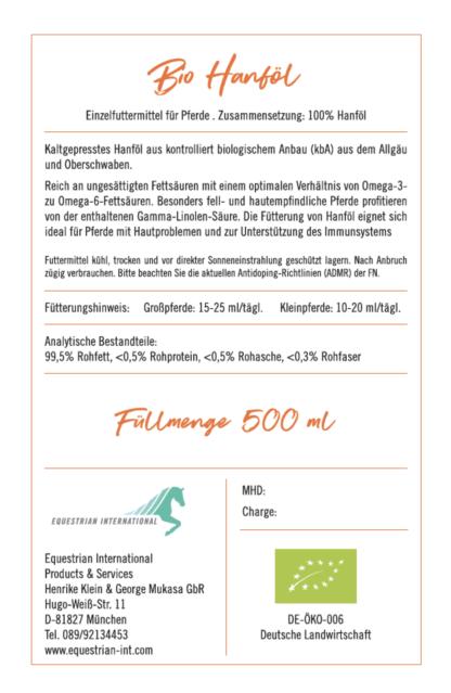Bio Hanföl von Malou, Rückseite, Zusammensetzung und Analytische Bestandteile