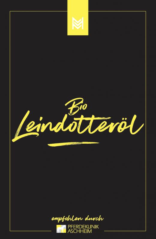 Bio Leindotteröl von Malou in Kooperation mit Pferdeklinik Aschheim, Label