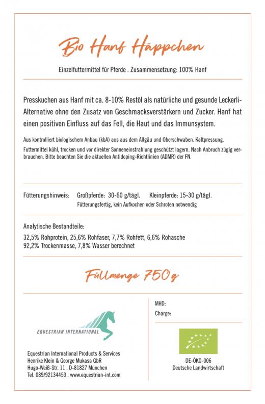 Bio Hanf Häppchen von Malou, Rückseite, Zusammensetzung und Analytische Bestandteile